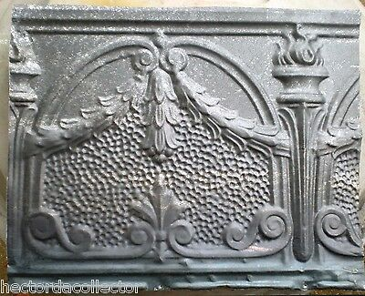 SALE  Antique Victorian Gothic Ceiling Tin Tile Torches Wreath Swag Fleur De li