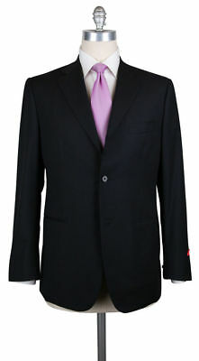 NEW VERSACE Suit Black With SILVER STRIPE Wool 2Btn Flat Front Suit 52 42R NEW.