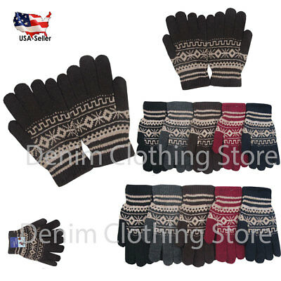 1~20 Dozens Christmas Winter Gloves Thermal Wool Knit Ski Xmas Wholesale Lots