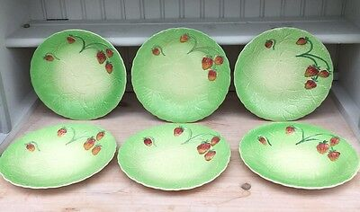 Set Of 6 Stunning 1930s Strawberry Plates By Shorter & Son