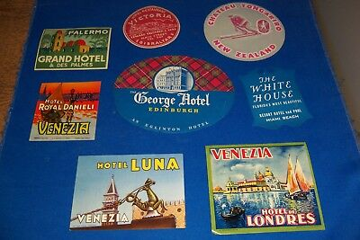 8-Vintage Hotel Luggage Labels-Venice,Miami Beach,Gibraltar Plus Others