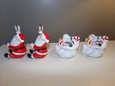 Vintage 4 Pc NAPCO Ceramic Christmas CANDLE HOLDERS SANTA CLAUS HUGGERS Japan