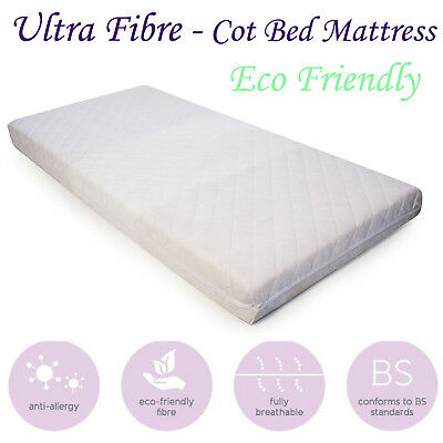 Baby Cot Mattress Eco-Friendly Breathable & Quilted Fibre Cot Crib Mat All Sizes