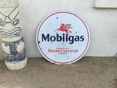 Mobilgas Porcelain Double Sided 30in. Advertising Sign