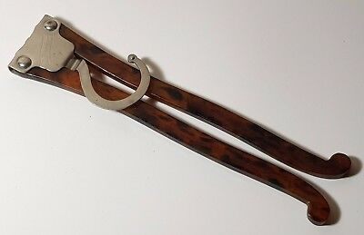Vintage 1920's Faux Tortoiseshell & Nickel Silver Folding Travel Clothes Hanger