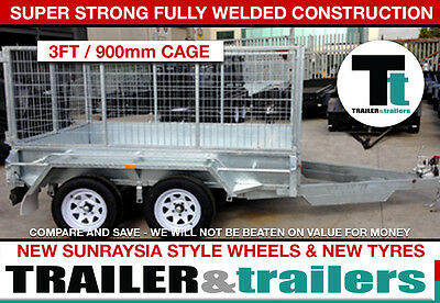 10x5 TANDEM CAGE TRAILER - HEAVY DUTY - 3ft CAGE - NEW WHEELS - JOCKEY WHEEL