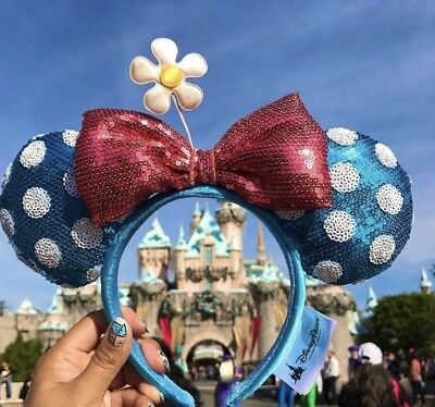 Disney Parks Teal Polka Dot Minnie Ears Sequin Headband Hat with Flower - Adult