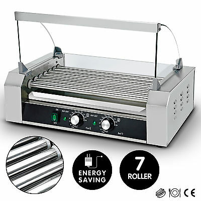 7 Roller Commercial 18 Hot Dog Grill Stainless Steel Cooker Machine w/Cover CE