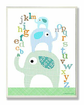 The Kids Room by Stupell Blue Elephants With Alphabet Rectangle Wall Plaque, 11