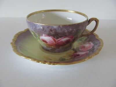 Antique Limoges J.P. Cup & Saucer Hand Painted Roses Gilded Signed