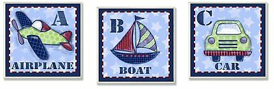 The Kids Room by Stupell Airplane, Boat, Car 3-Piece Square Wall Plaque Set