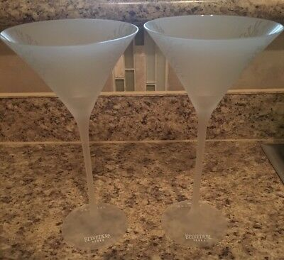 Belvedere Vodka Martini Glasses Frosted Glass Spectre 007 New, set of 2