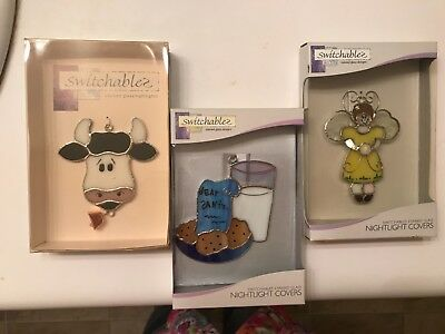 Lot 3 Switchables NightLight Covers Stained Glass Santa ,Angel and Cow