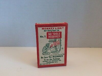 NOS EXCELLENT ~ GRAPHIC 1948 Vintage MONKEY LINK TIRE CHAIN Old Gas Station Sign