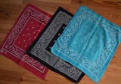 Lot of 3 Vintage Bandanas 100% Cotton Made in USA Black Red Turquoise RN13960