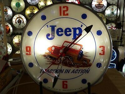 Restored Vintage Jeep Lighted Pam Advertising Clock Sign Automobilia NASCAR