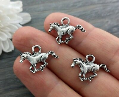 Galloping Horse Charms 10/20/50pc - Silver Charm Animal Western CH397
