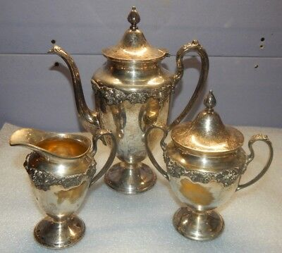 Vintage Homan Mfg Co. Grape Silverplate Coffee/tea Set Sugar, Creamer 0699