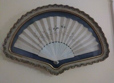 Fine Antique Chinese White Bone Figural Silk Embroided Fan In Amazing Frame Read