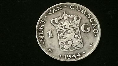 1944 . Netherlands . Curacao .  Gulden . Silver . Scarce . WWII issue