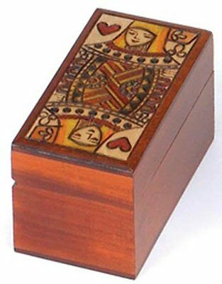 Playing Card Box Polish Handmade Wood Queen of Hearts Playing Card Box Holder