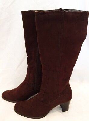 Knee Boots Shoes Womens Size 6.5 Pesaro Boots Shoes Brown Suede Boots Zip Up