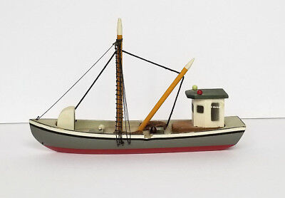 Gray Red and White Wooden Buyboat Fishing Boat Model - Nautical Ocean Figurine