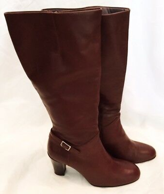 Knee Boots Shoes Womens Size 7 Brown Leather Boots Shoes Zipper Naturalizer Boot