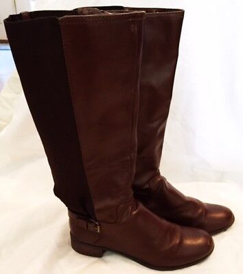 Riding Boots Shoes Womens Size 9.5 Brown Leather Merona Boots Shoes Zipper