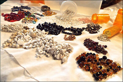 Lot of antique vintage glass coral & porcelain jewelry beads seed and larger