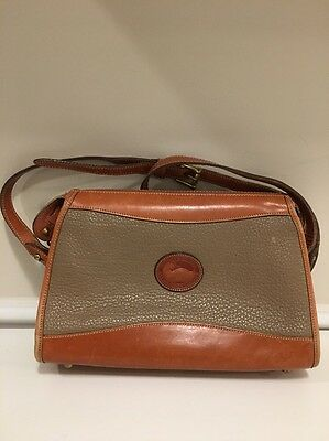 Vintage Dooney Bourke Taupe Tan All Weather Crossbody Pebbled Leather Bag Purse