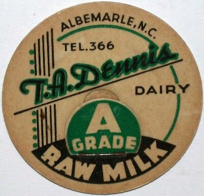 Vintage milk bottle cap T A DENNIS DAIRY Albemarle North Carolina unused Rare