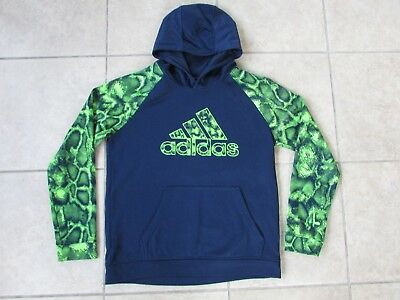Boys Adidas Pullover Hoodie Size L (14-16) Navy Blue/Lime Green
