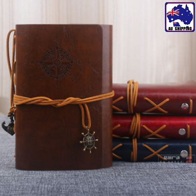 Vintage PU Leather Bound Blank Pages Travel Journal Diary Notebook Gift SFPP988