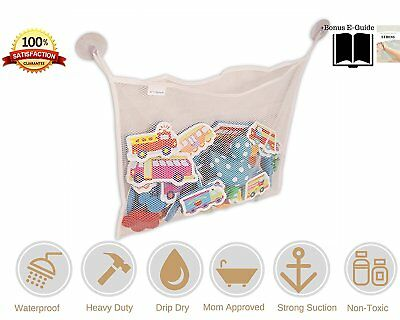 JJ's Splash Bath Toy Organizer + 2 Bonus Strong Hooked Suction Cups, White - Dry