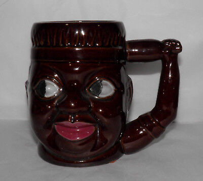 Vintage OCCUPIED JAPAN Large Blackface Mug w/ Side Eye Stare BLACK AMERICANA