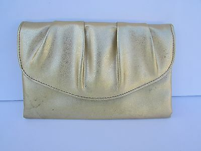 Vintage 1950's Gold Metallic Leather Clutch Purse-Pre Owned-AWESOME!