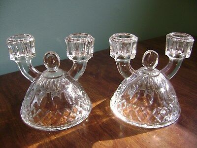 Set Of 2- Beautifull Vintage Crystal Glass Double Arm Candle Stick Holders