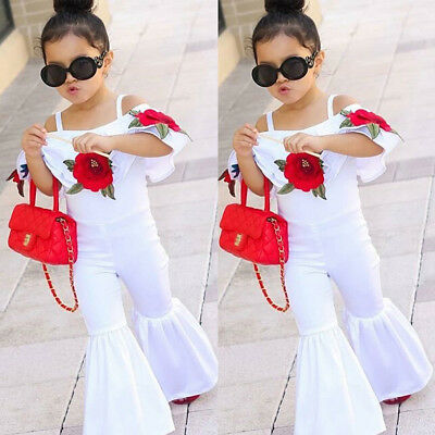US Kids Baby Girl Off shoulder Flower Romper Jumpsuits Trousers Outfit Clothes T