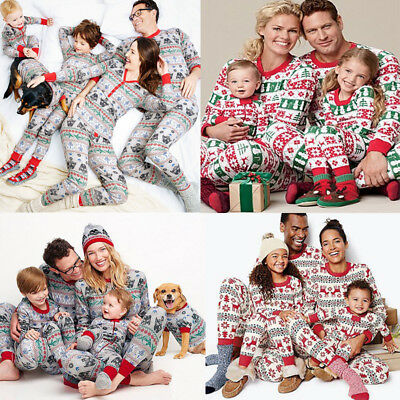Christmas Family Matching Pajamas Set Nightwear Pyjamas Cotton Sleepwear Clothes
