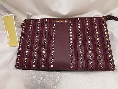 NWT Michael Kors MK BROOKLYN Grommet Large Lg Leather Plum Pouch Wallet Wristlet