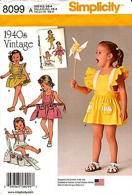 Simplicity Sewing Pattern 8099 1940s Vintage Toddlers Romper Skirt 1/2-4 NEW