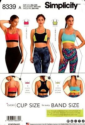 Simplicity Sewing Pattern 8339 Misses Knit Sports Bras 30A-44G NEW