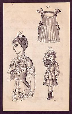 1800's Old Antique Vintage Lady Girl Victorian Fashion Clothing Art PRINT a