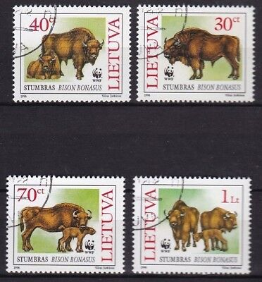 T37161 Litauen Lithuania 599-602 gest./used Bison WWF