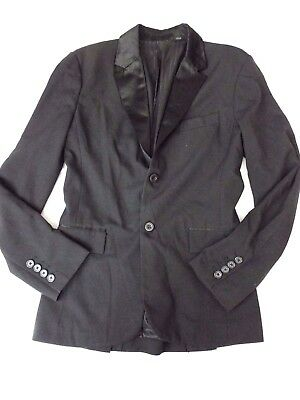 GUESS Mens Blazer Size M Slim Fit Black Jacket Blazer Satin Lapel Sport Coat