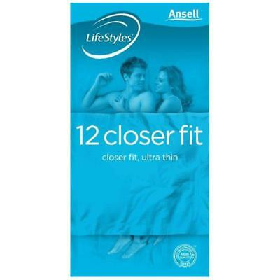 * Ansell Lifestyles Closer Fit 12 Condoms Ultra Thin Natural Rubber Latex