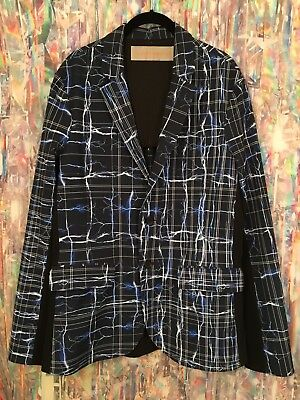 CLOVER CANYON Black Blue ELECTRIC LIGHTNING PLAID Print Blazer Jacket Rain Coat
