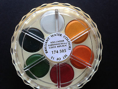 Koh-I-Noor Artists Watercolour Discs Brilliant Colours - 12 Colours Set