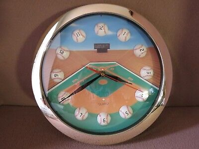 """ L@@K!! "" Vintage "" BASEBALL FIELD "" Quartz Wall Clock by Shontek:  VERY NICE!!"